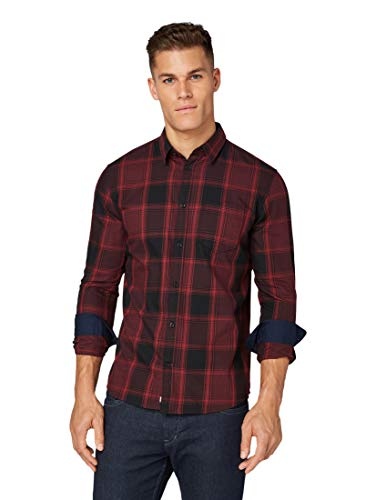 TOM TAILOR Herren Blusen, Shirts & Hemden Kariertes Hemd Burgundy Black Big Check,XL