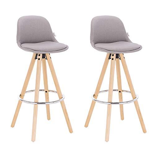 WOLTU® BH45hgr-2 2 x Barhocker 2er Set Barstuhl aus Leinen Holzgestell mit Lehne + Fußstütze Design Stuhl Küchenstuhl optimal Komfort Hellgrau