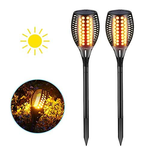Solar Gartenleuchte, LTPAG Solar Fackeln für Außen LED Solar Taschenlampe, 96 LED Bis Dawn Automatische Ein/Aus(Licht Sensor), IP65 Wasserdicht Solar Garten Flammeneffekt- 2 Stück