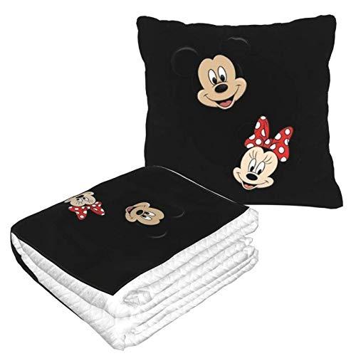Mickey Mouse y Minnie Love (2) Manta de almohada para el hogar, dormitorio, sofá, coche, interior, exterior, camping, mujeres y hombres