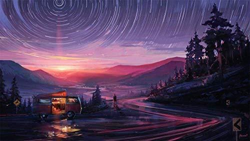 YOFUHOME Punto de Cruz, Cielo Nocturno, Coche de Carretera, 40 × 50 cm, Kits de Punto de Cruz de Bricolaje Estampados, Gama Completa de Kits de Inicio de Bordado para Artes Principiantes, 11 u.