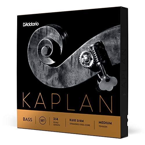 Daddario Orchestral K610 3/4M 3/4 Kaplan K610 Medium - Juego de cuerdas de contrabajo, Zyex