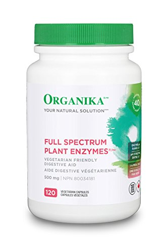 Organika Full Spectrum Plant Enzymes- Enhance Digestion of Carbs, Fat, Protein, Diary- 120 vcaps