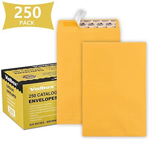 ValBox 6x9 Self Seal Catalog Security Envelopes 250 Count Small Brown Kraft Envelopes for Mailing, Storage and Organizing