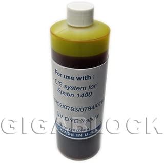 Gigablock UV Dye based Bulk Pint(470ml) Yellow Refill Ink for CIS System Epson Stylus Photo 1400 and 1410 - Made in USA