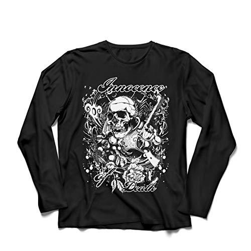lepni.me Camiseta de Manga Larga para Hombre Inocencia de la Muerte - Calavera Arte, gráfico de Heavy Metal (XX-Large Negro