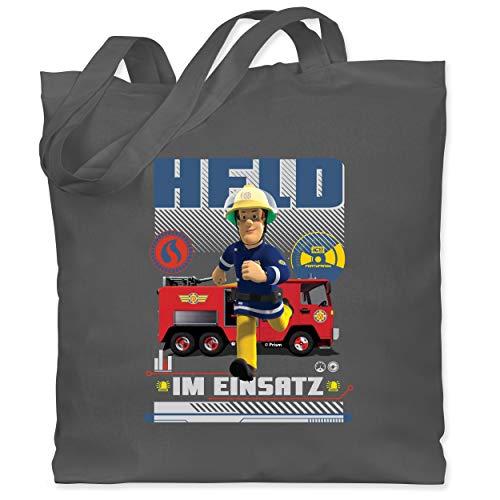 Shirtracer Feuerwehrmann Sam Tasche - Held im Einsatz - Unisize - Dunkelgrau - Geschenk - WM101 - Stoffbeutel aus Baumwolle Jutebeutel lange Henkel