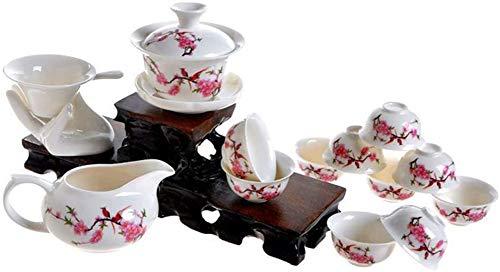 OHHCO 13 Chinesische Keramik Tee, Pfirsichblüte Muster Kung Fu Teekanne, Geschenke, Sammlerstücke, Tee, Mehrzweck-, weiß Retro,Peach Blossom