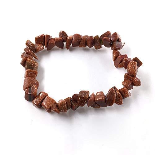 LLXXYY Stein Armband,Natürliche Edelstein Armband Stretch Chip Perlen Nuggets Granat Crystal Coral Quarz Armbänder Armreifen Für Frauen Kaffee