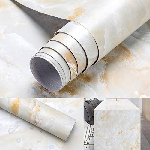 0.61 * 5M Marmor Tapete Möbelfolie Klebefolie Selbstklebend Aufkleber Dekofolie Möbelsticker Wand wasserdicht Folie für Schlafzimmer Küche, Schrank, Tisch(Type B)