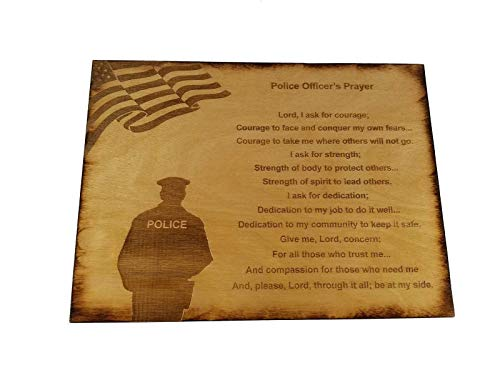 Police Officer Prayer Wall decor with American Flag and Police Silhouette 8.5 x 11.5 Inches Sign