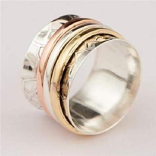 Spinner Ring - Meditation Ring - Anti Stress Ring - Three Metal Rings - Multi Metal Ring - Mixed Metal Ring - Unisex Ring - Yoga Ring - Ring Size US9.25