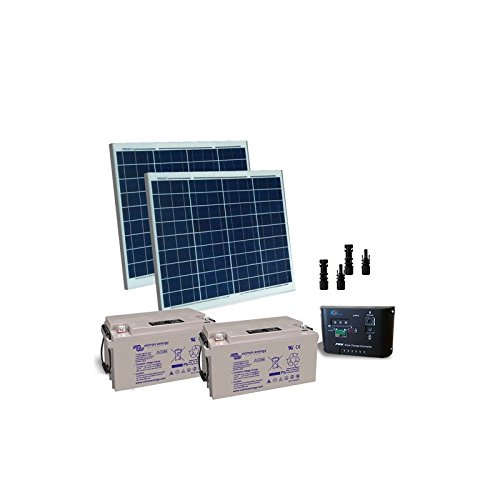 PUNTOENERGIA Italie – Kit electrificada portes solaire 100 W 24 V Plaques Régulateur de charge batterie 22 Ah – kce-100-b22