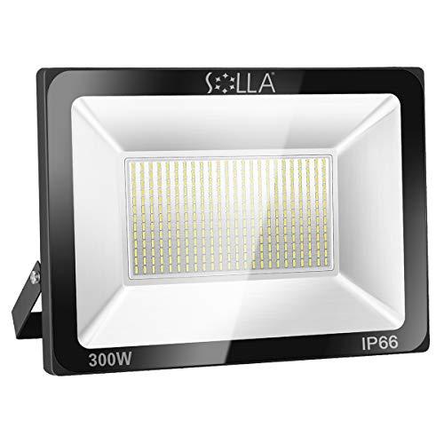 SOLLA 300W LED Flutlicht Outdoor-Sicherheitsleuchte, 1600W Äquiv, 3000K Warmweiß, 24000LM, Wasserdicht IP66, Außenwandleuchte