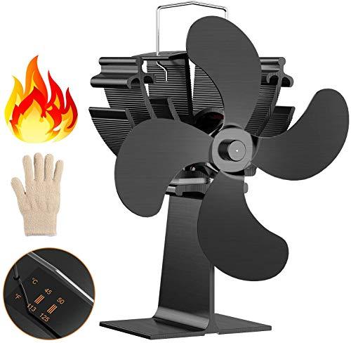 Kaminventilator,Stromloser 4-flügeliger Ofenventilator, Dr.meter Kamin Ventilator für Holz-/ Holzbrenner oder Kamin mit freundlichem Temp Pad & Handschuh, leise 15 dB zirkulieren warme/erwärmte Luft