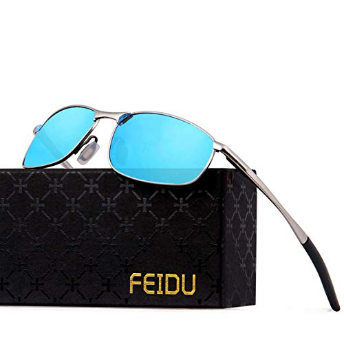 FEIDU Sportbrille Sonnenbrille Herren Polarisierte,HD Lens Metal Frame Driving Shades FD 9005 (Blau/Silber, 57)