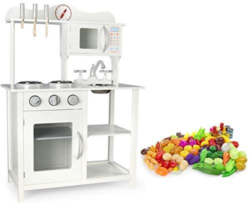 Leomark Cocina Madera Infantil de Juguete - Classic White - Accesorios: reloj, microondas, verduras, frutas, Para Niños, Estilo Escandinavo, Dim: 60x30x85 (altura) cm