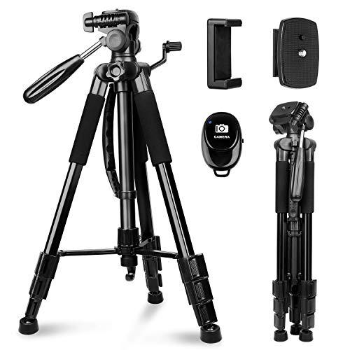 Sunfoto Kamera Stativ 160cm Leichtes Fotostativ mit 2 Schnellwechselplatte, Tragetasche, Handyhalterung für Smartphone DSLR SLR Canon Nikon Sony Olympus - schwarz
