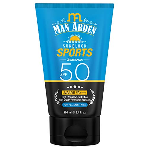 Man Arden Sunblock Sport Sunscreen SPF 50, Non Greasy & Water Resistant, 100ml - UVA & UVB Protection