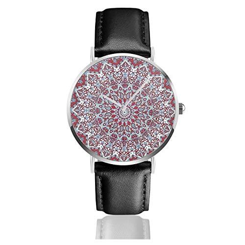 Popular Twin Star Hippie Mandala Bohemia Clásico Casual Moda Reloj de Cuarzo Acero Inoxidable Correa de Cuero Relojes