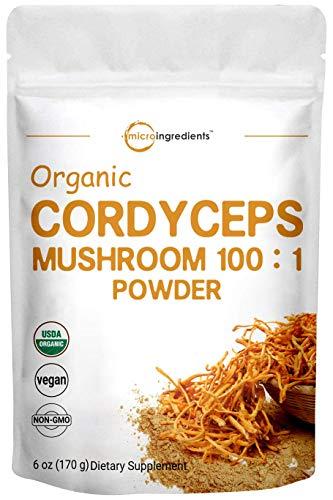 Sustainably US Grown, Organic Cordyceps Mushroom Extract 100:1, 6 Ounce, Cordyceps Powder Organic, Supports Energy and Immune Health, No GMOs and Vegan Friendly