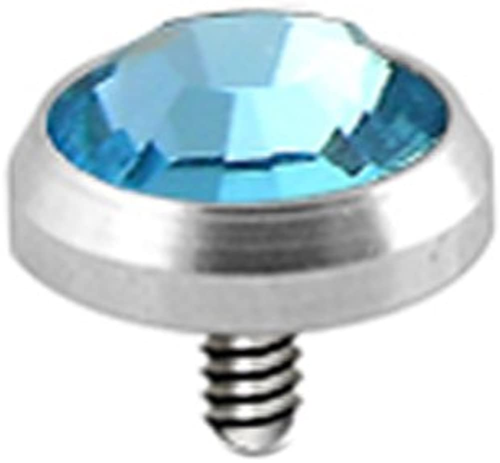 Dermal Anchor 50pcs Solid Titanium Base and 3MM Clear CZ Top