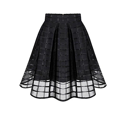 Black Skirt for Women A Line Mesh Patchwork Swing Pleated High Waist Elegant Midi Skirts (S, Black)