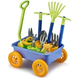 Liberty Imports Garden Wagon & Tools Toy Set for Kids with 8 Gardening Tools, 4 Pots, Water Pail and Spray - Great for Beach & Sand Too!