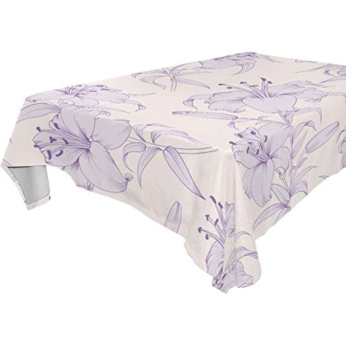 FCZ Custom Tablecloth Light Purple Lily Flowers Pattern Printed Pattern Washable Heat Resistant Table Cloth 60'x120' Dinner Kichen Home Decor