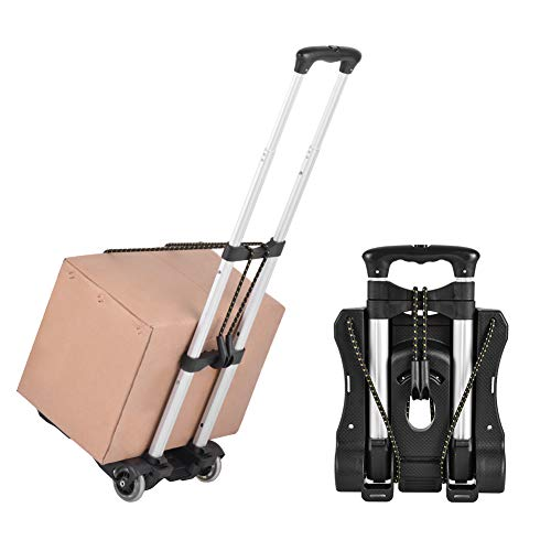 Luggage Cart Folding Hand Trucks, 80 Lbs Loading Portable Utility Cart for Luggage Height Adjustable Fold Up Dolly Lightweight for Travel, Moving and Office Use, Bonus Bungee Cord HG405