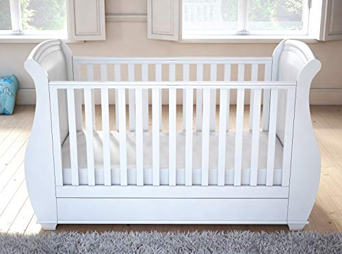 Babymore Bel Sleigh Cot Bed Drop Side with Drawer & Fibre Mattress | Solid Hard Wood | Converts into Day Bed, Toddler Bed | Teething Rail | White