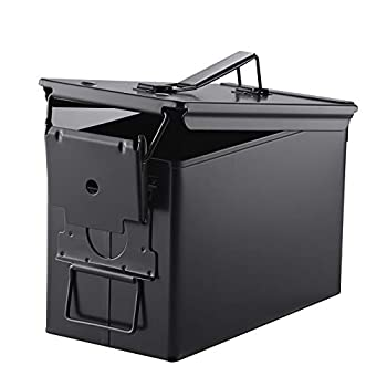 Metal Ammo Case Can – 50 Cal Military and Army Solid Steel Holder Box for Long-Term Shotgun Rifle Nerf Gun Ammo Storage  Black 50CAL