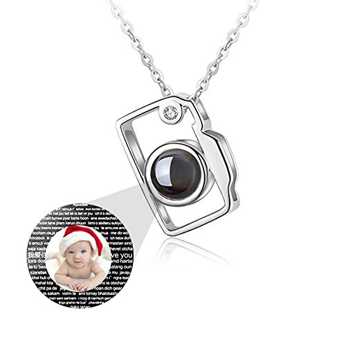 bishixiangenbaihuo 925 Sterling Silver Necklace Custom Projection Necklace I Love You Necklace Projection Necklace with Pictures 100 Languages Necklace Christmas for Women(Silver Full Color 24)