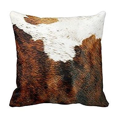 Splendid Genuine Cowhide Pillowcase Covers Brown and White Cow Hide Pillow Cushion