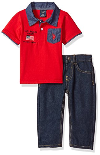 U.S. Polo Assn. Baby Boys Shirt and Pant Set, Red Flag, 12M