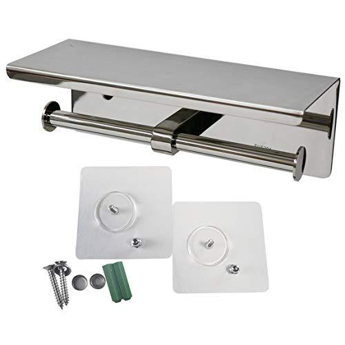 EINFAGOOD Toilet Paper Holder, Toilet Roll Tissue Holder, Stainless Steel Double Paper Towel Dispenser, 2.16lb Weight (Chrome, Two Rolls)