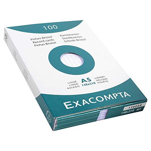 Exacompta 13808B Packung (mit 100 Karteikarten, ungelocht, DIN A5, 148 x 210 mm, 205 g, liniert, ideal für die Schule) 1er Pack weiß
