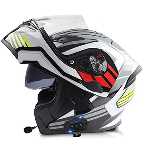 ABDOMINAL WHEEL Bluetooth Modular Casco,Casco De Motocicleta Modular Adulto con Lente De Doble Parasol,ECE Certificación Casco De Motocicleta Integral con Función De Respuesta Automática A,59~60cm