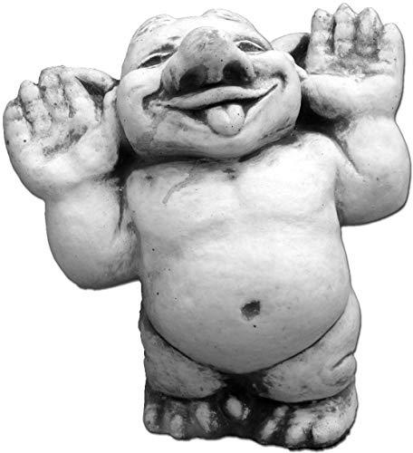 gartendekoparadies.de Massive Steinfigur lustiger Troll Hallo, da Bin ich! aus Steinguss frostfest