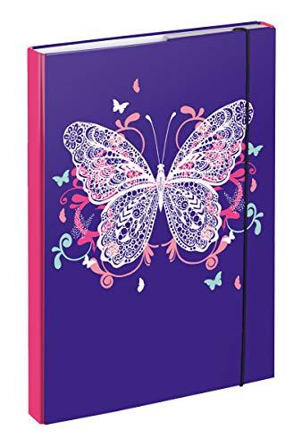 Baagl Heftbox für Schulranzen A4 - Sammelmappe für Kinder mit Gummiband und Innenklappen - Heftmappe, Sammelbox mit Gummizug für Mädchen (Schmetterling)