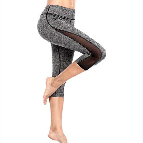 N-N Leggings Damen Yogahosen Polyester Mesh Fitness Stretch Schlanke Jogginghose Mit Hoher Taille Geeignet Für Verschiedene Sportarten Wie Laufen Und Fitness-Gra_S