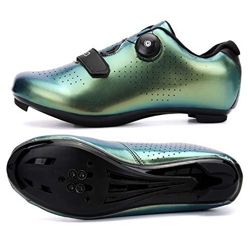 KUXUAN Zapatos de ciclismo para hombre con zapata Peloton compatible con Spd y Delta Lock Pedal Bike Shoestring, Green1-12UK = (280 mm) = 46EU