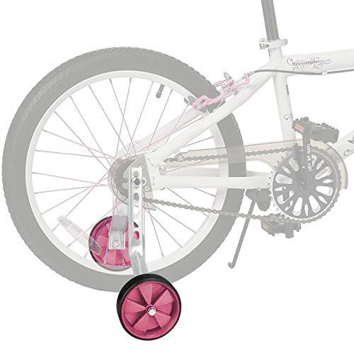 JUEYAN® 1 Par Ruedines para Bicicleta Infantil Universal Seguridad ruedines para Equilibrio de Bicicleta Estabilizador Ajustable de Ruedas Laterales de Entrenamiento para Niños,12–20 Pulgadas,Rosas