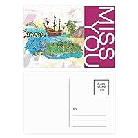 都市カンクンメキシコ島のマヤの寺院の水彩画 ポストカードセットサンクスカード郵送側20個ミス