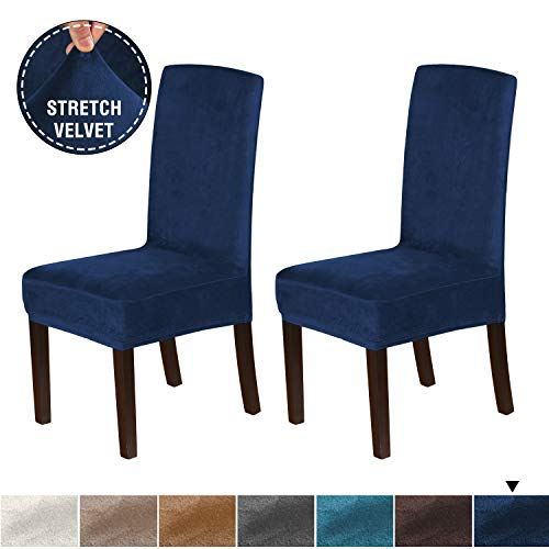 H.VERSAILTEX Velvet Dining Chair Covers Stretch Chair Covers for Dining Room Set of 2 Parson Chair Slipcovers Chair Protectors Covers Dining, Soft Thick Solid Velvet Fabric Washable, Navy