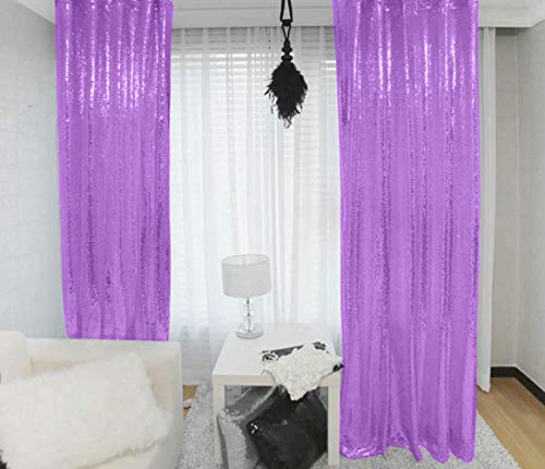 Lavender Sequin Curtains 2 Panels 2FTx8FT Baby Shower Backdrop Lilac Glitter Backdrop Sequin Backdrop for Wedding