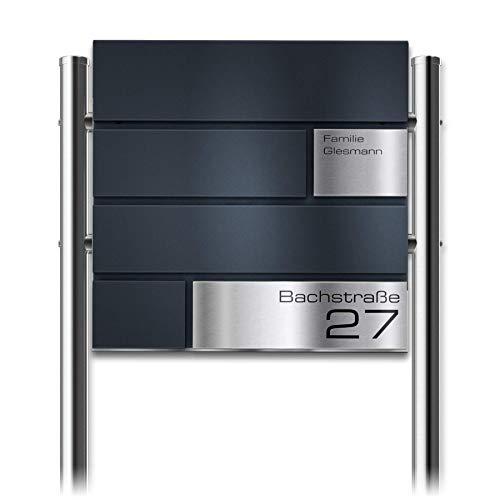 Metzler Standbriefkasten in Anthrazit Modell G - Pulverbeschichtung in RAL 7016 Feinstruktur Matt - Briefkasten mit Gravur, Edelstahl Namensschild & Ständer - Größe: 37 x 37 x 10,5 cm - Höhe 120 cm