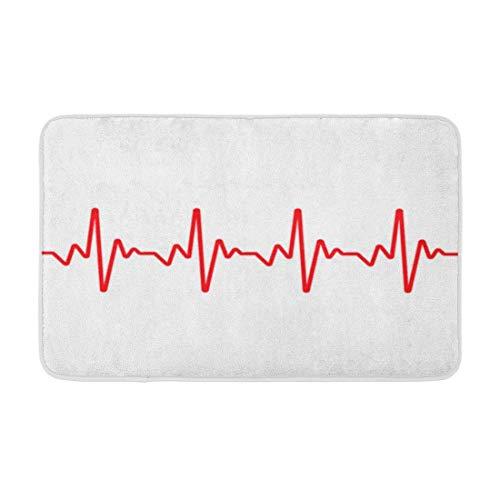 Yaoni Tapis de Bain Coeur Rouge Ligne de Battement de Coeur Battre ECG fréquence de fréquence d'impulsion Confortable Salle de Bain décor Tapis de Bai