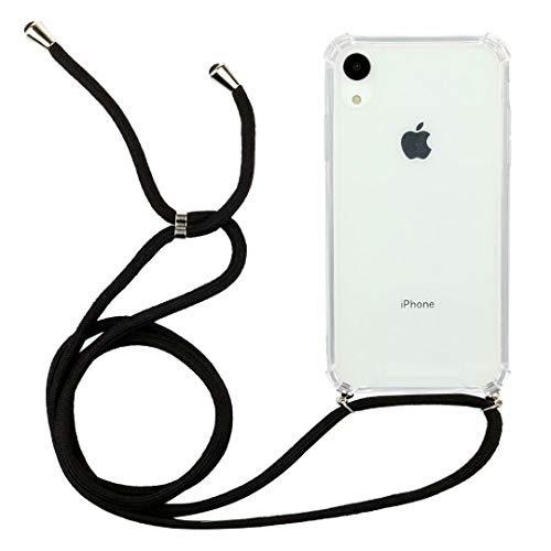 Bumina telefoonhoesje voor iPhone Xr ketting met koordriem transparant zacht TPU siliconen mobiele telefoon schouderriem beschermend hoesje met hals koord Lanyard riem voor iPhone Xr iPhone Xr Zwart