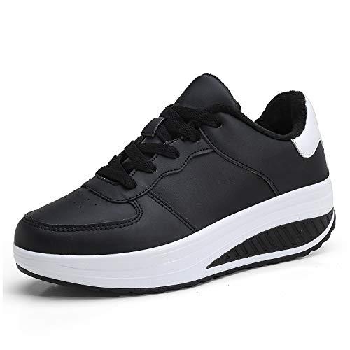 Mujer Cuero Zapatillas de Deporte con Plataforma de Cuña Aptitud Gimnasio Zapatos de Baile para Caminar con Cordones 4 CM Felpa Negro 37 EU
